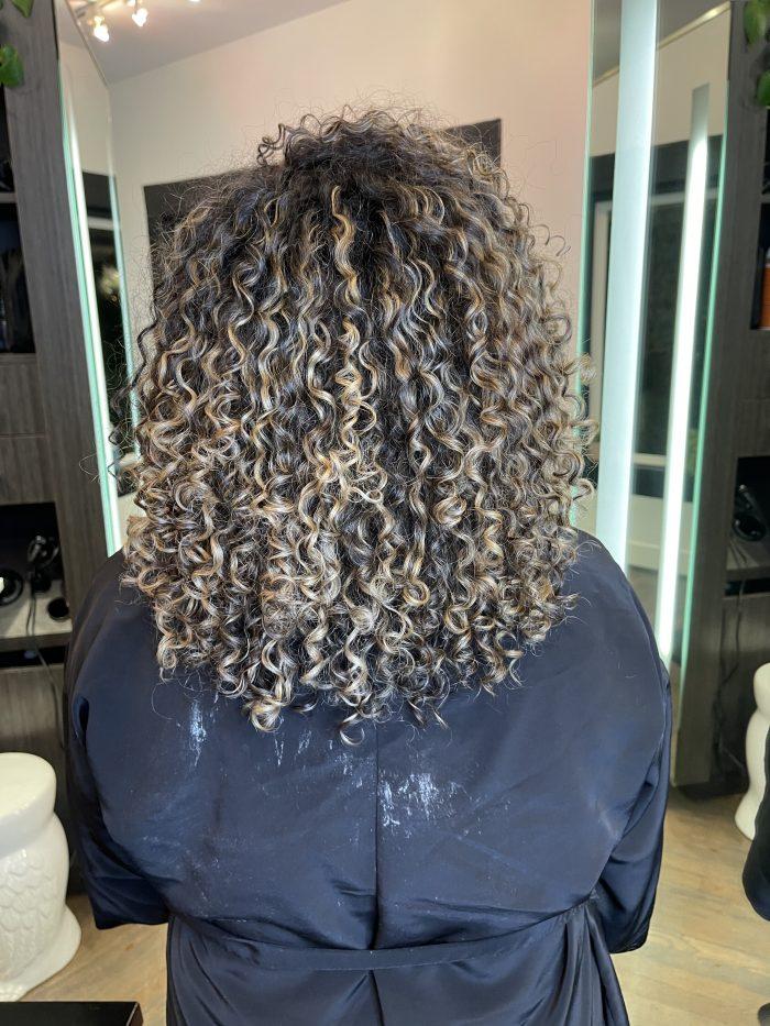Blonde Balayage on curly hair