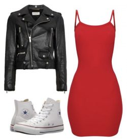 Red dress and black jacket