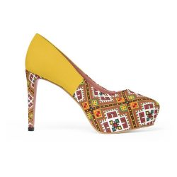 African print gold shoe
