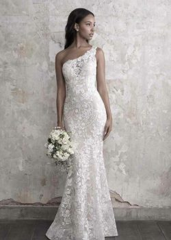 one shoulder lace floor length wedding gown