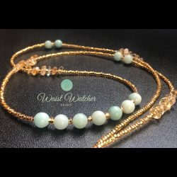 Gemstone waistbeads with Amazonite and Citrine crystals