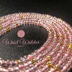 Soft pink and gold waistbeads