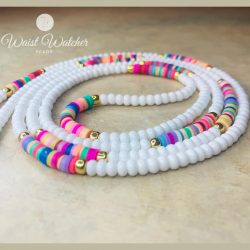 Colorful waist beads. White seed beads and multicolored disc beads.