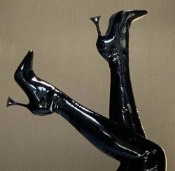 Black Latex Stilettos