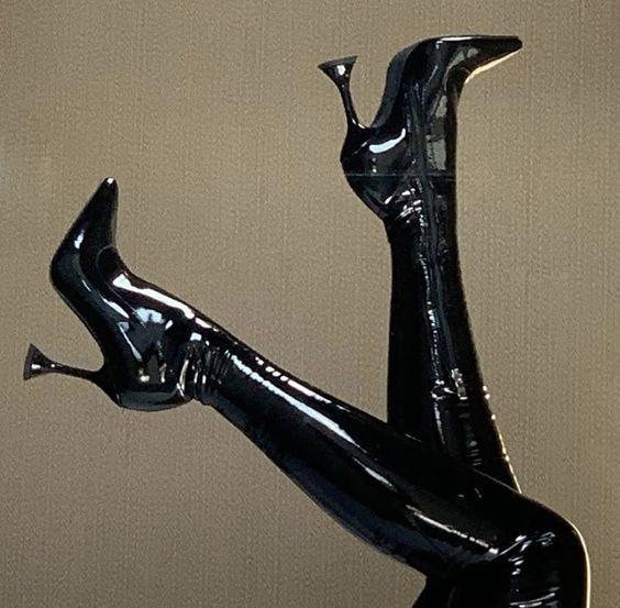 Black Latex Stilettos
