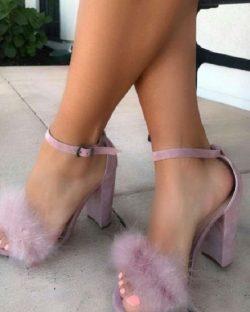 Pink Feather Strap Heel Sandal