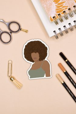 Golden Afro Black Girl Sticker