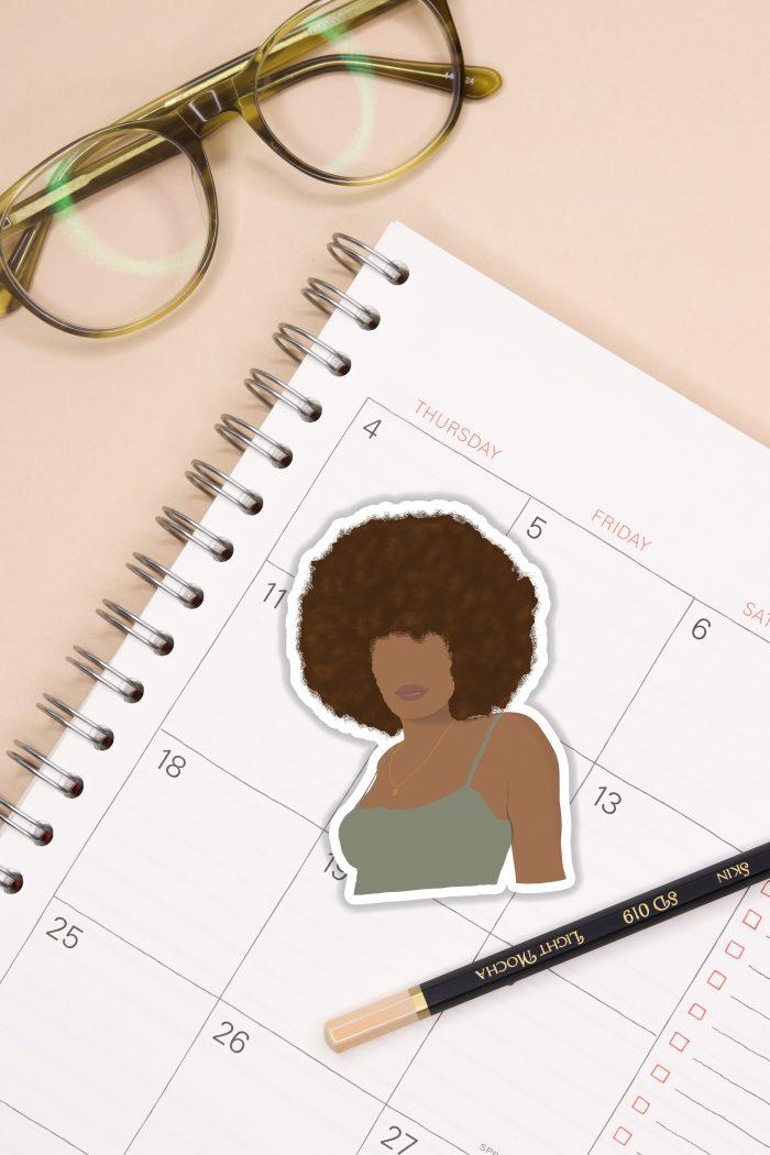 Golden Afro Black Girl Sticker