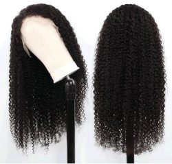 Mongolian Kinky Curly Human Hair Wigs, Lace Closure, Frontal 180%