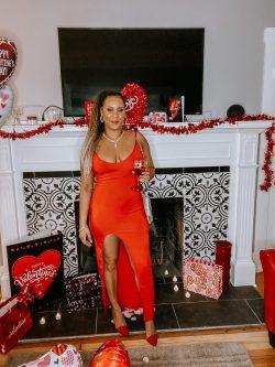Long Red Dress with Split   Amazon Dress