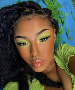 Pastel neon eyeshadow 1990s style with bronzer as blush