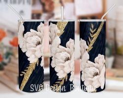 Blue Gold Floral Skinny Tumbler Sublimation Design