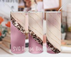 Rosegold Glitter Abstract Skinny Tumbler Design Sublimation