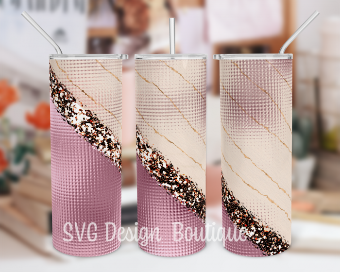 Rosegold Glitter Abstract Skinny Tumbler Design Sublimation