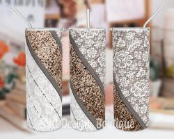 Wood Lace Glitter Tumbler Sublimation Design