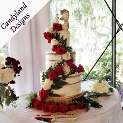 Red Roses Beauty & The Beast Naked Wedding Cake