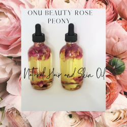 Onu Beauty Rose Peony Natural Hair and Skin Oil, 4 oz