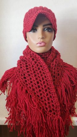 Crochet Red Hat and Fringed Scarf – KnottyLoop