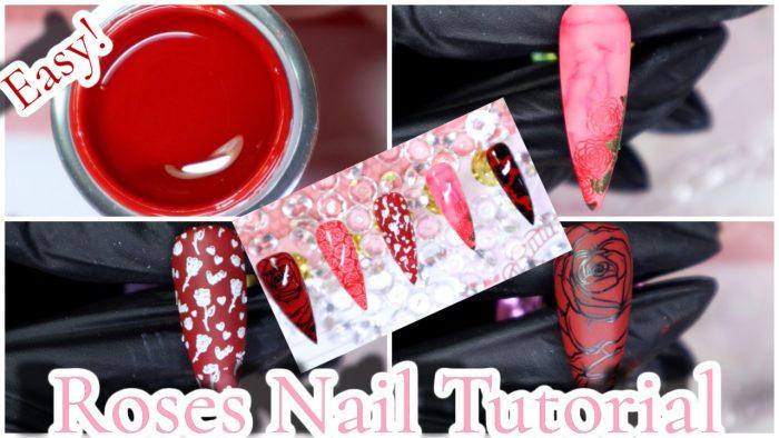 Easy Roses Nail Art Design | Glamorousnails.And.Beauty | Nail Art 2021