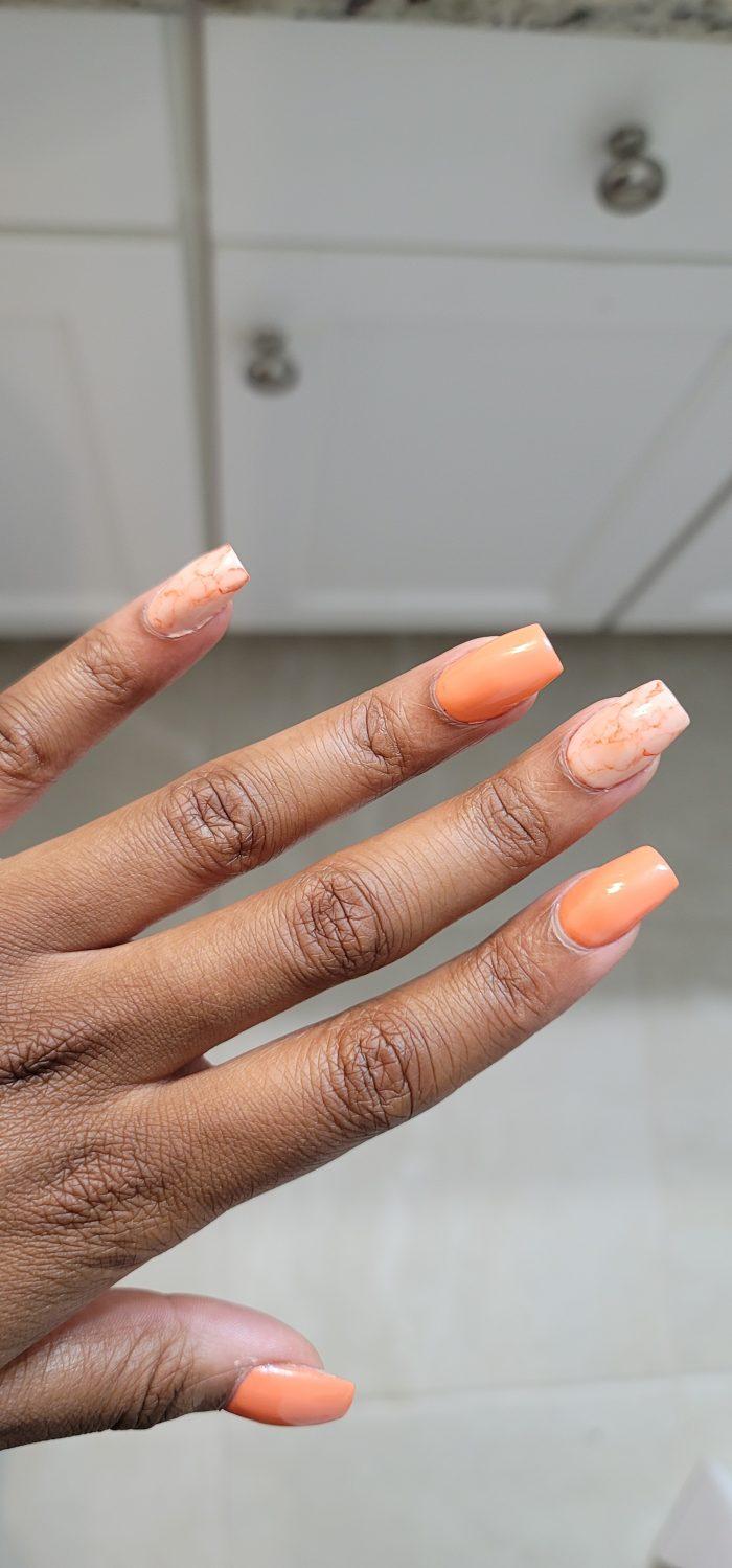 Peach Acrylic nails dark skin