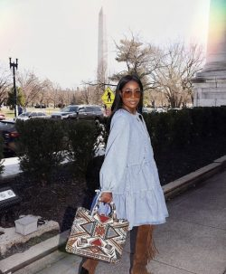 Blue a line oversized dress intricate purse boots