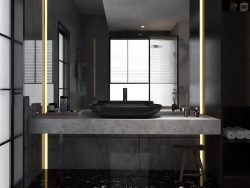 MODERN DARK BATHROOM DESIGN