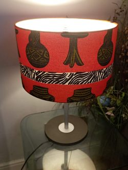 Vase & Table – 40cm Bright Red Beautiful Lampshade African Ankara Handmade Fabric Drum ...