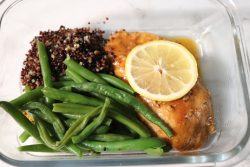 Lemon Garlic Chicken with red quinoa and green beans.