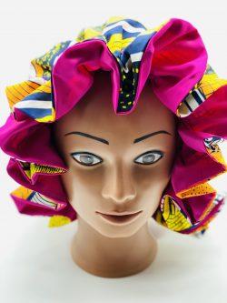 Satin lined Ankara bonnet.