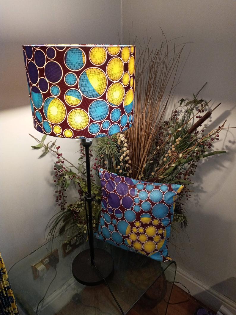 Circle Print Purple, Yellow and Brown Ankara Fabric Lampshade (40cm)