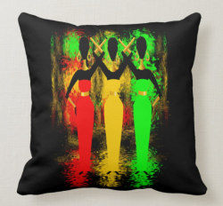 ETHNIC COSMIC SHIMMER CUSHION THROW PILLOW Black Background by Livz design