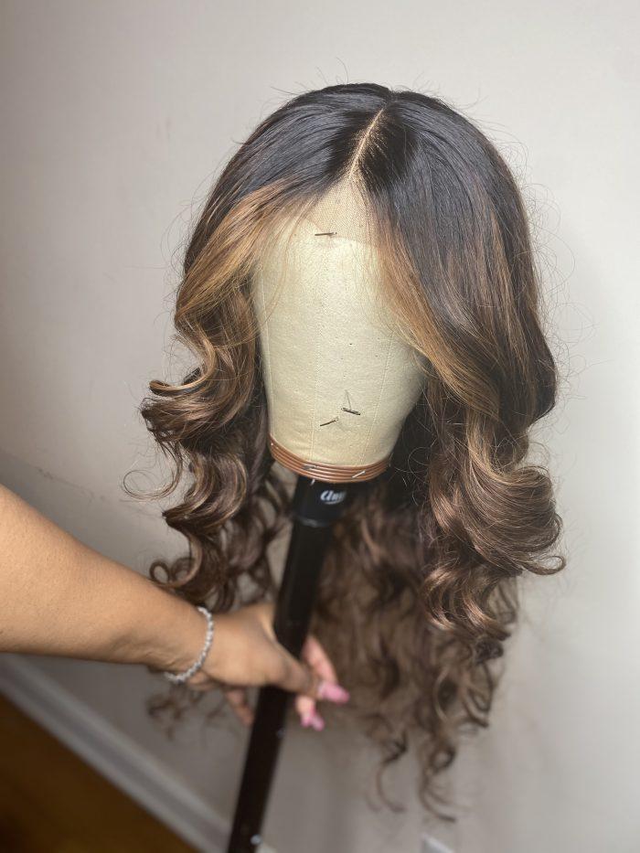 "Custom Blonde and brown Wig Unit 24"""