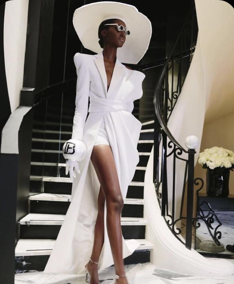 White High Fashion Desifner extravagant Piece