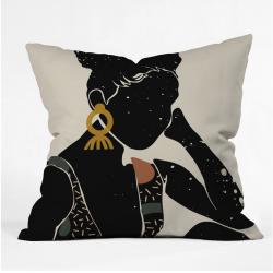 Black Hair No 6 throw pillow