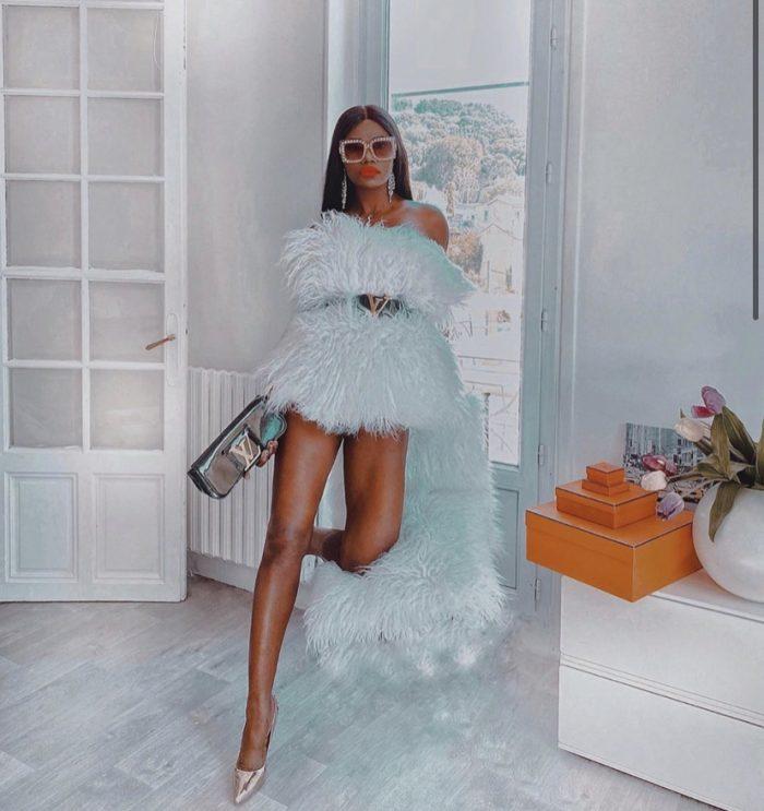 Blue luxury high fashion dress