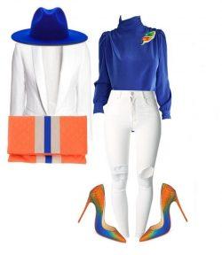 Royal Blue, Orange & White Denim