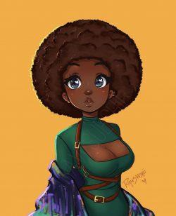 Beautiful Black Girl Digital Art IG:rawsueshii
