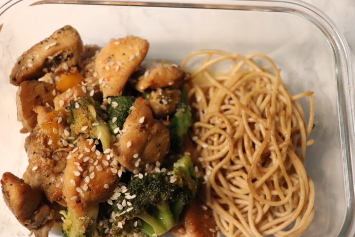 Sesame chicken & whole wheat pasta meal prep
