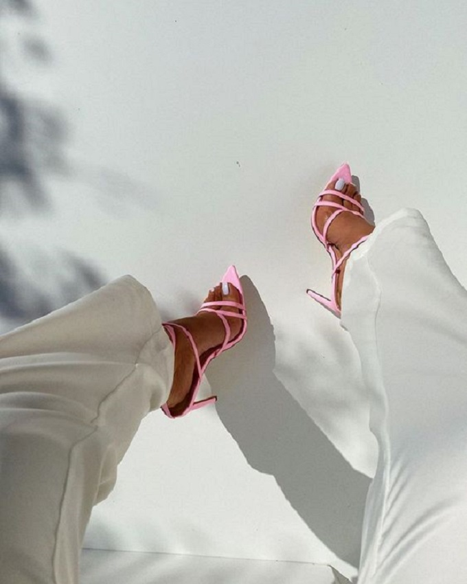 White on Pink Sandals/Open Toe