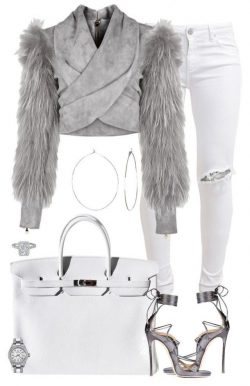 Grey fur and white denim