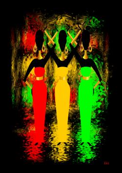 Ethnic Cosmic Shimmer Black Background – Original art Print by Livz Design.