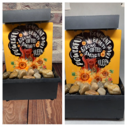Sunflower tabletop fountain and desktop sign