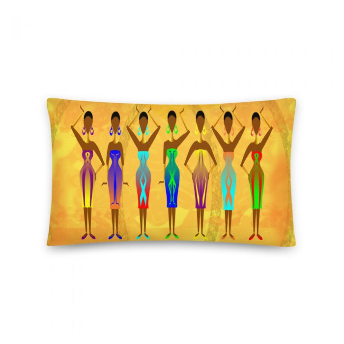 LADIES IN COLOUR YELLOW THROW PILLOW / CUSHION. EXCLUSIVE AFRO CENTRIC FABRIC DESIGN by Livz Design