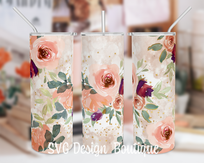 Peach Floral 20 oz Tumbler Sublimation Design | Abstract 20oz Skinny Tumbler Download | Tapered  ...