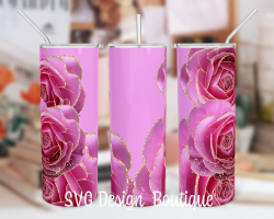 Floral Abstract Tumbler Template | Pink Roses Tumbler PNG | Floral Tumbler Wrap | Floral Tumbler ...