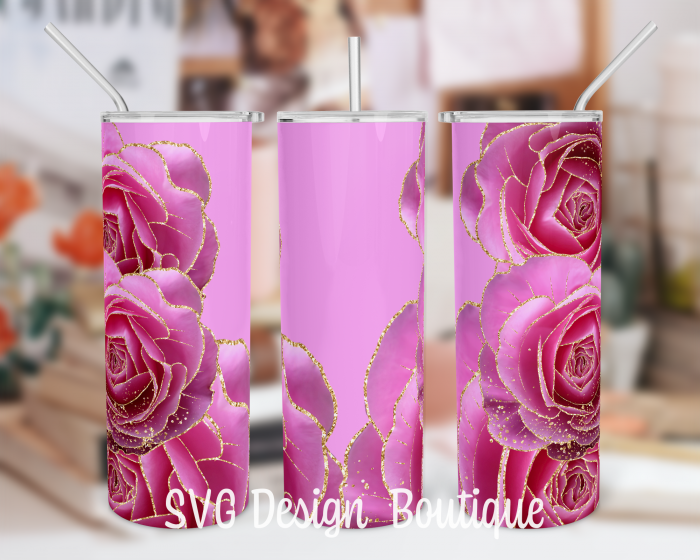 Floral Abstract Tumbler Template   Pink Roses Tumbler PNG   Floral Tumbler Wrap   Floral Tumbler ...