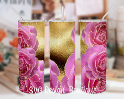 Gold Floral Abstract Tumbler Template | Pink Roses Tumbler PNG | Floral Tumbler Wrap | Floral Tu ...