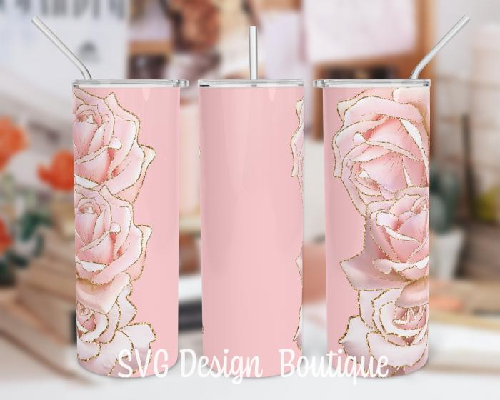 Pink Roses Floral Tumbler Sublimation Design   Pink Tumbler PNG   Floral Tumbler Wrap   Floral T ...