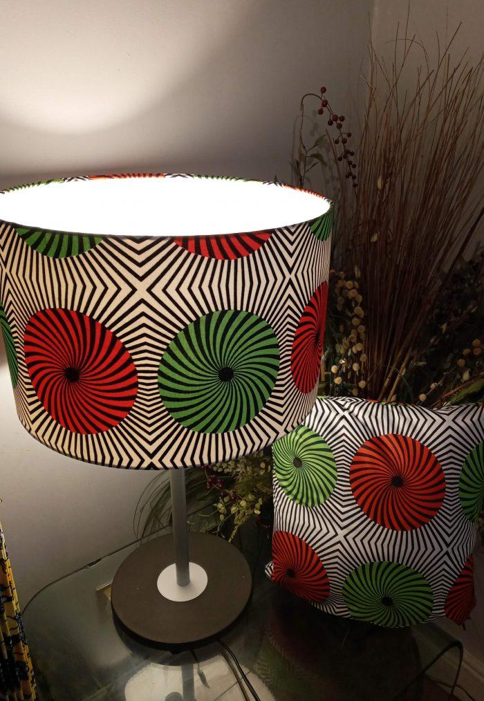 Selika-likoes (Circles) 40cm Drum Lampshade & Matching Cushion