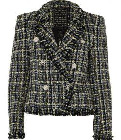 Blue tweed double-breasted jacket/blazer by River Island, size US 10/UK 14